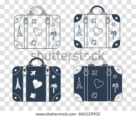 Icons of a suitcase for travel with stickers of countries. silhouette icon in the linear style