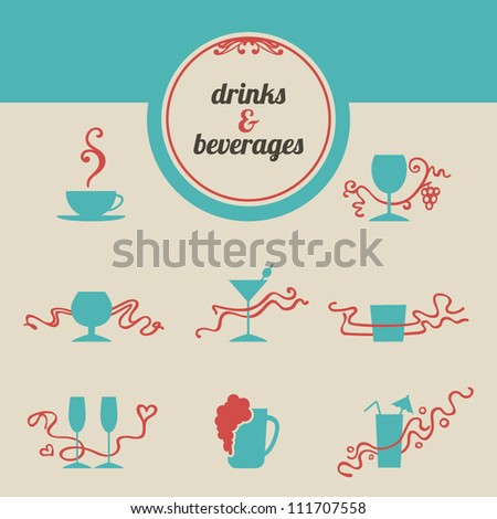 Icons of bar drinks and beverages. Eight vintage bar drink icons with calligraphic decor. Illustration for cafe, bar, restaurant menu, wine list: vector set. Easy to edit.