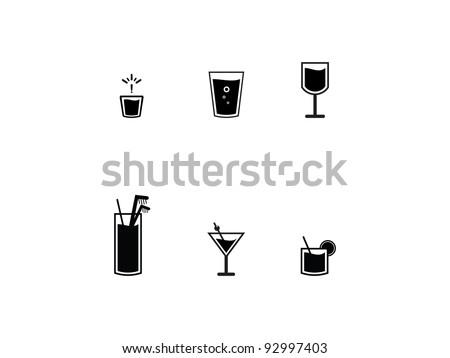 icons of bar drinks six black