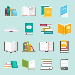 Icons of books vector set in a flat design style. Books in a stack, open, in a group, closed, on the shelf. Reading, learn and receive education through books.