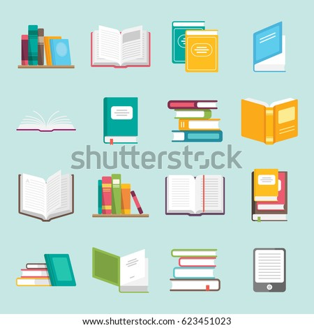 Icons of books vector set in a flat design style. Books in a stack, open, in a group, closed, on the shelf. Reading, learn and receive education through books. stock photo