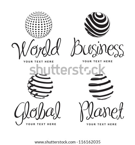 Icons of business, world, global and planet over white background