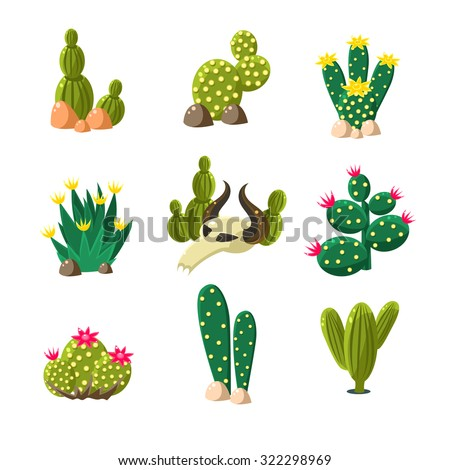 icons of cactuses in the rocks