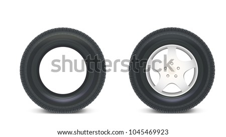 Icons of Car parts for garage, auto services. Set of automobile tires isolated on a white background, various parts. Car wheels with disks. 3D illustration