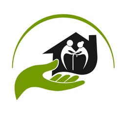 Icons of care and support for for elderly people nursing home. Love symbol of cheerful elderly couple home care logo, nursing old pension people.