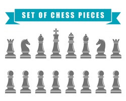 Icons of chess. Chess pieces on a white isolated background. Vector illustration.