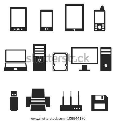 Icons of computer hardware and gadgets.