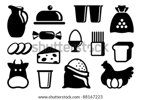 Icons of dairy products, eggs and groceries