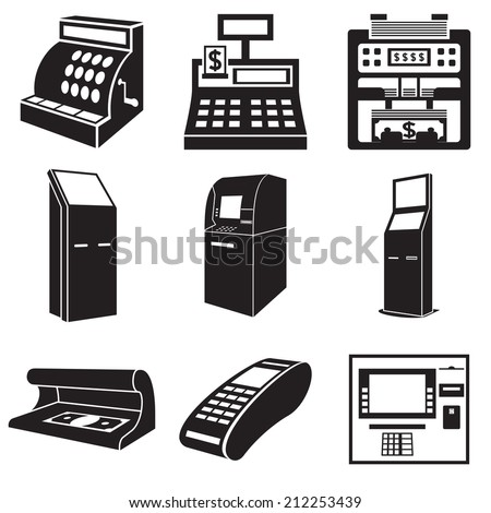 Icons of devices for money: cash register, bill counter, ATM, payment terminal, currency detector. Vector illustration