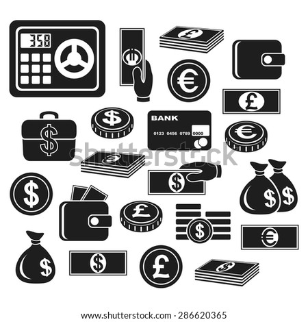 Icons of different currency and financial objects. Set on a white background. #286620365