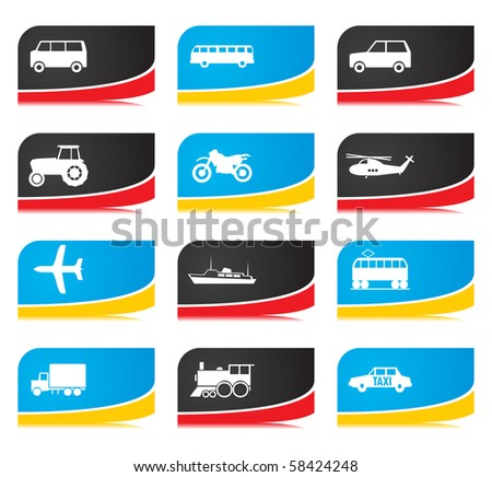 Icons of different types of transport. A vector illustration - stock ...