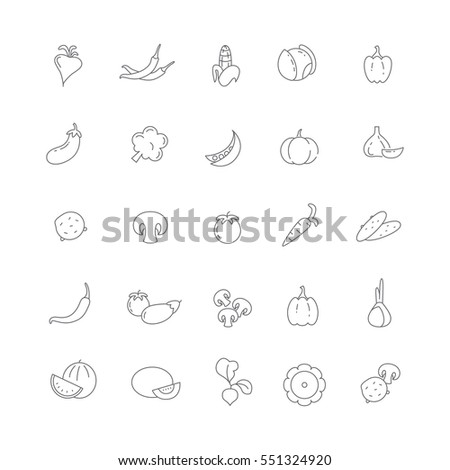 Icons of different vegetables