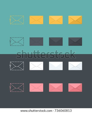 Icons of envelopes in different styles. Envelopes for letters in different colors.