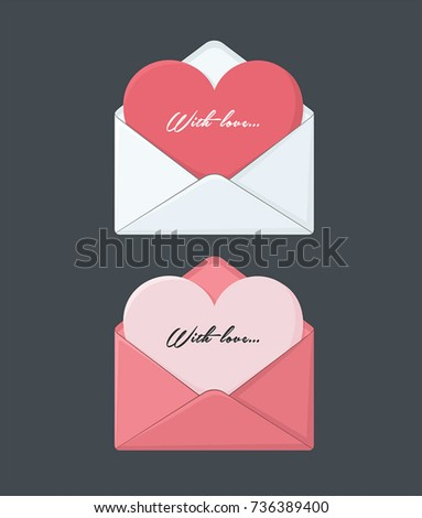 Icons of envelopes with a love card. In the envelope card in the form of a heart.