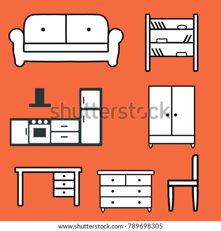 icons of furniture on orange background