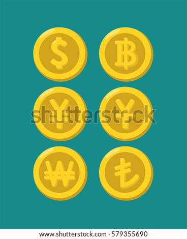 Icons of gold coins with images of Asian currencies: Chinese currency, the currency of Japan, Turkey, Thailand, Korea, Singapore dollar and the currencies of Indonesia.