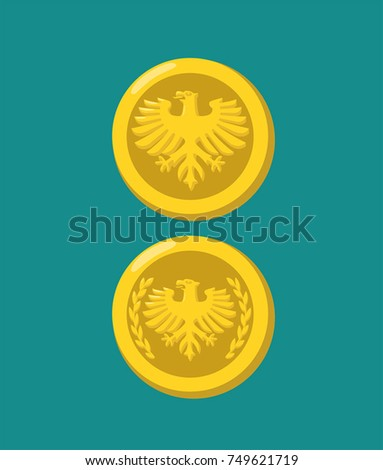 Icons of gold coins with the image of an eagle.