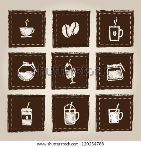 Icons of hot and cold drinks over gray background - stock vector