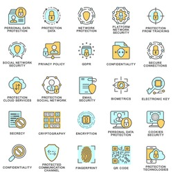 Icons of information protection and GDPR. The thin contour lines with color fills.