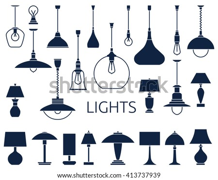 Icons of lamps. Flat style vector illustration.