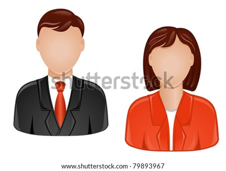 Icons of man and woman for web design - stock vector