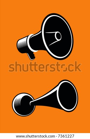 Icons of megaphone on orange background. Vector.