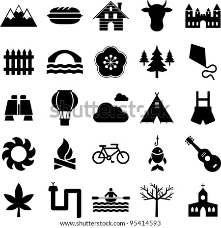 icons of nature, mountain and outdoor activities