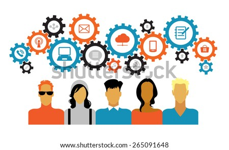 Icons of people with gears and interface icons technology, social media. concept of people communicate in a global network. Icons of people with gears and Interface icons