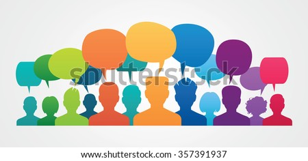 Icons of people with speech bubbles. People Chatting. Vector illustration of a communication concept, relating to feedback, reviews and discussion.