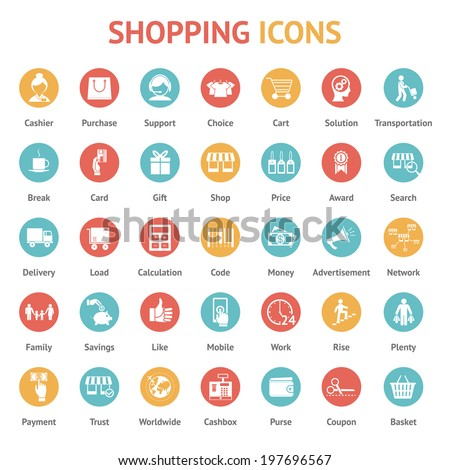 Icons of purchase, payment and delivery on round buttons