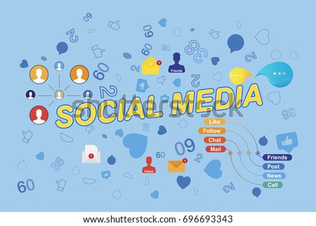 Icons of social networks and symbols of notifications. Flat vector illustration EPS 10 #696693343