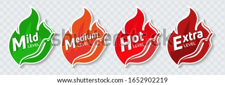 Icons of spicy food level, soft, medium and very hot pepper sauce with fire flame. Hot pepper sign