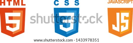 Icons of the three components of web development. HTML5 emblem orange shield and white text. CSS3 emblem blue shield and white text. JS emblem orange shield and white text. Vector isolated.