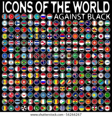 icons of the world against black background, abstract vector art illustration