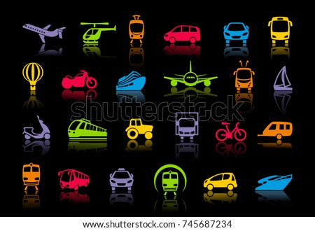 Icons of various means of transportation. Vector illustration