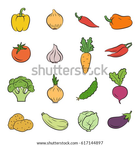Icons of vegetables. Cooking and healthy eating. Vector illustration.