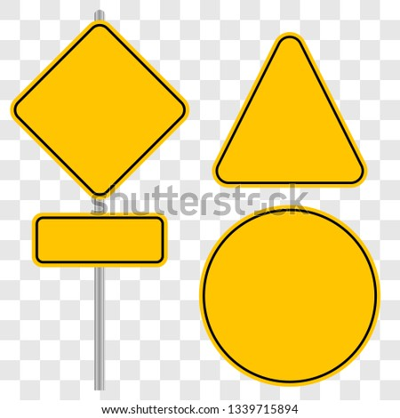 Icons of yellow empty road signs on isolated background, vector illustration   #1339715894