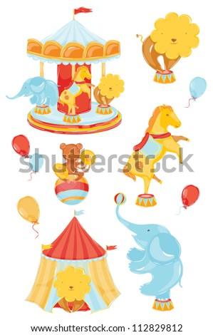 icons on a circus theme with a lion elephant monkey horse carousel in warm din. ?hildren's positive joyful