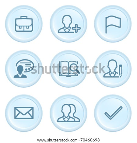 Icons on blue button 1 - stock vector