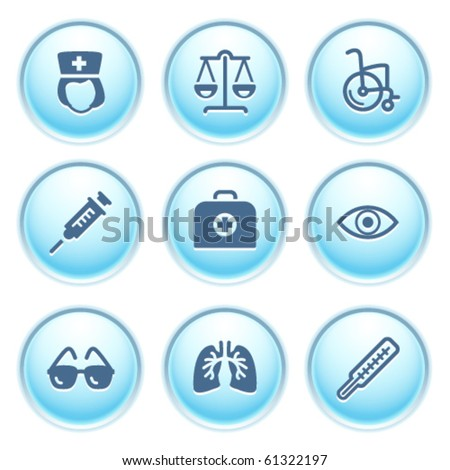 Icons on blue buttons 13 - stock vector