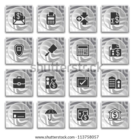 Icons on buttons with pattern, set 10.