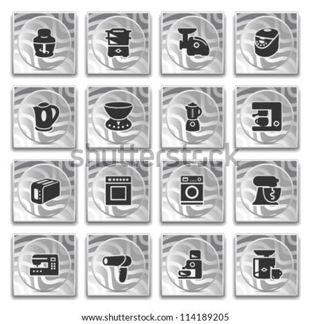 Icons on buttons with pattern, set 13.