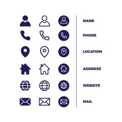icons pack business card free vector