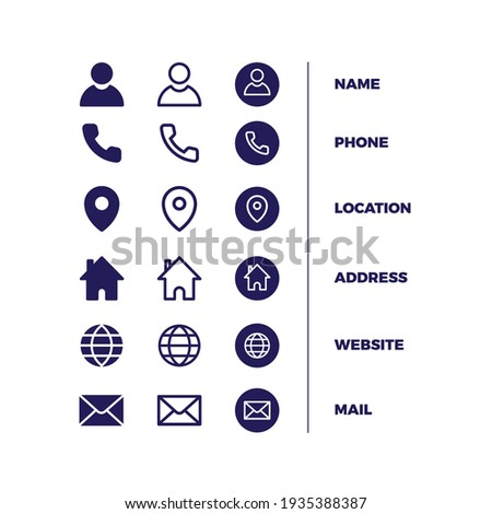 icons pack business card free vector Foto stock ©