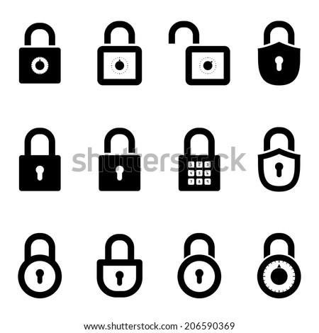 icons padlocks. vector set. eps8