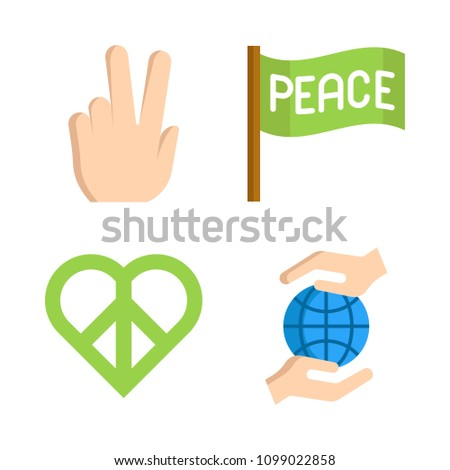 Icons Peace with peace and planet earth