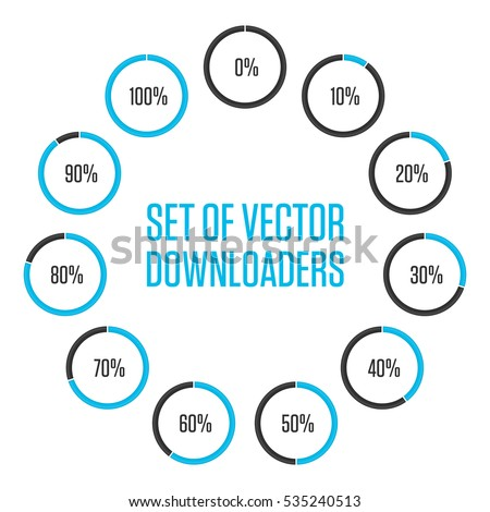 Shutterstock puzzlepix icons pie graph circle percentage blue chart infographics vector 0 10 20 30 40 50 60 70 80 90 100 colored diagrams isolated on white ccuart Images