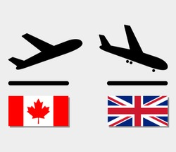 icons plane departure from Canada and upon arrival in UK. aircraft with flags of different countries. concept of international airlines