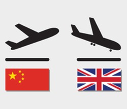 icons plane departure from China and upon arrival in UK. aircraft with flags of different countries. concept of international airlines
