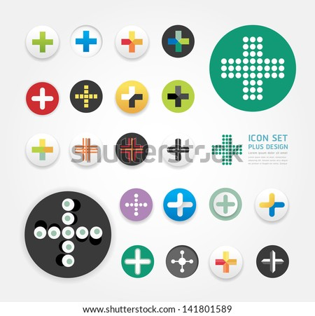 icons plus design set / can be used for infographics / graphic or website layout vector